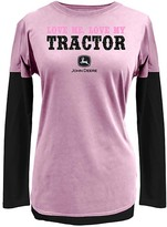 John Deere Pink & Black 'Love Me Love My Tractor' Layered Tee - Plus Too