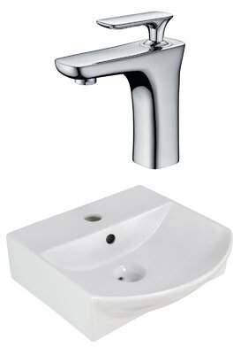 American Imaginations Ceramic U-Shaped Bathroom Sink with Faucet and Overflow Installation Type: Above Counter