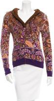 Blumarine Mink-Trimmed Floral Pattern Cardigan