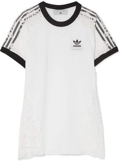 Stella McCartney Adidas Originals Lace-paneled Cotton-jersey T-shirt - White