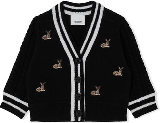 BURBERRY KIDS Deer Motif V-neck cardigan