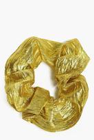 boohoo Felicity Pleated Metallic Scrunchie gold