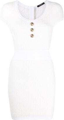 Balmain Embossed-Button Knitted Dress