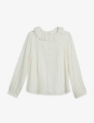 Chloé Ruffled-collar twill blouse 4-14 years