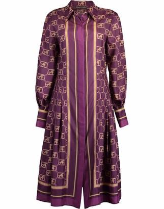 Alberta Ferretti Fantasy Violet AF Silk Printed Shirt Dress