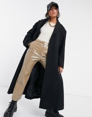 Weekday Sanne organic cotton tailored coat in black