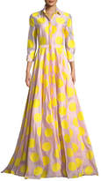Carolina Herrera 3/4 Sleeve Dot-Print Fil Coupé; Trench Gown