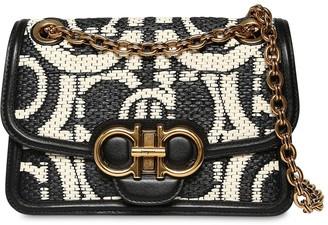 Salvatore Ferragamo Gancio Raffia Effect Bag W/ Leather