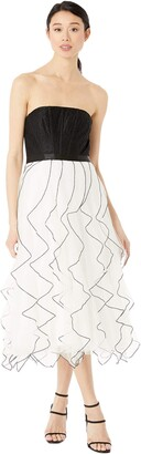 BCBGMAXAZRIA Women's Strapless MIDI Tulle Dress
