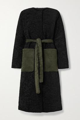 Stine Goya Matty Belted Two-tone Faux Fur Coat - Black
