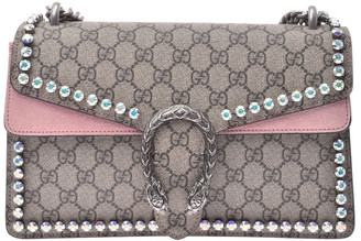 Gucci Beige/Pink GG Canvas And Suede Dionysus Chain Shoulder Bag