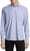 Etro Paisley & Dot-Print Long-Sleeve Sport Shirt, Light Blue