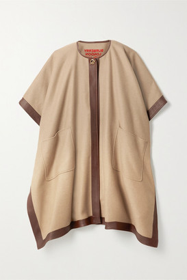 Burberry Leather-trimmed Cashmere Poncho - Camel