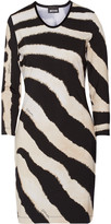 Just Cavalli Zebra-print velour-trimmed stretch-jersey mini dress