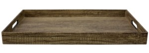 Hds Trading Corp Wood-Like Rustic Serving Tray with Cut-Out Handles