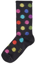 Hue Blurred Dots Roll Top Socks