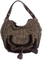Sonia Rykiel Fur-Trimmed Knit Bag