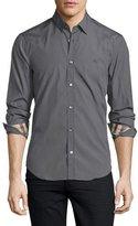 Burberry Cambridge Long-Sleeve Sport Shirt, Stone Gray