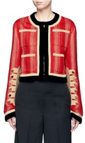 Givenchy Decorative button velvet trim military embroidery jacket