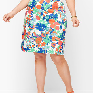 Talbots Canvas Cotton A-Line Skirt - Fruits & Flowers