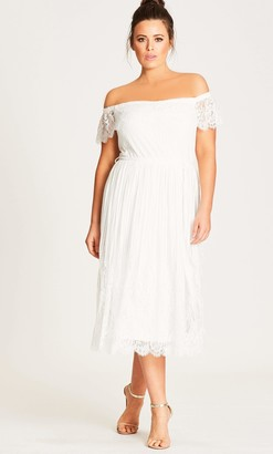 City Chic Vine Detail Off Shoulder Dress in White Size 16/Small Polyester
