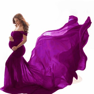 Arestory Women Pregnants Dress Photography Props Maternity Elegant Dress Off Shoulder Sleeveless Solid Gown Ladies Trailing Dress Ruffles Solid Dress Maxi Photoshoot Dress Skirt Nursing Dress Purple