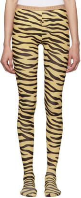 Gucci Black and Beige Zebra Print Tights