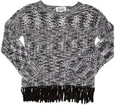 Autumn Cashmere Fringed Cotton Open-Worked Sweater-GREY