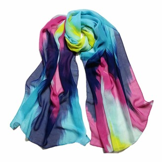 Deloito  Womens Scarf Deloito Women Fashion Chinese Ink Style Wrap Lady Shawl Chiffon Scarf Scarves (Blue)