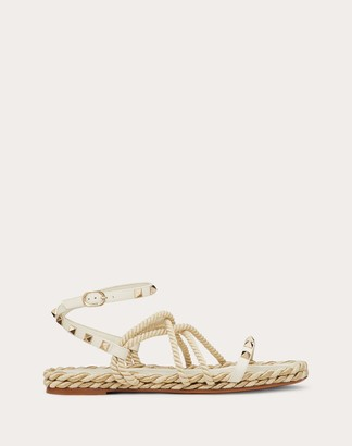 Valentino Rockstud Flat Ankle Strap Calfskin Sandal Women Light Ivory Cotton 58%, Viscose 32%, Metallic Fiber 10% 37