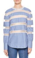 Sandro Women's Lace Inset Stripe Poplin Blouse
