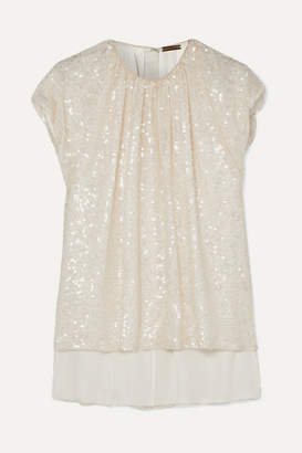 ADAM by Adam Lippes Gathered Sequined Crepe Top - Ivory