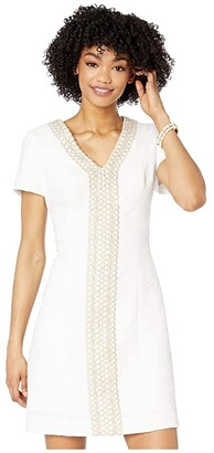 Lilly Pulitzer Arie Stretch Shift Dress (Resort White Palm Paradise Pucker Jacquard) Women's Dress