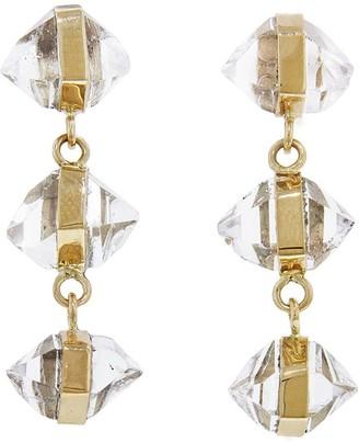 Melissa Joy Manning Three Drop Wrapped Herkimer Diamond Yellow Gold Earrings