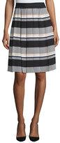Kate Spade Striped Pleated A-Line Skirt, Black