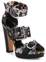 Alexander McQueen Floral-Print Leather Buckled Sandals