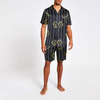 River Island Mens Black RVR printed satin short pyjama set