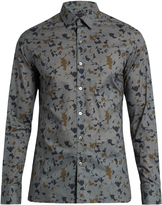 Lanvin Button-cuff abstract-print cotton-poplin shirt