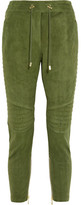 Balmain Quilted Cropped Suede Track Pants - Army green