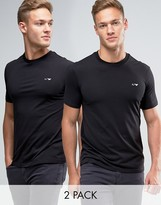 Armani Jeans T-Shirt With Crew Neck 2 Pack In Black