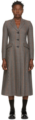 Prada Multicolor Cashmere and Wool Check Coat