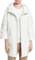 Brunello Cucinelli 3/4-Sleeve Taffeta Raincoat
