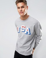 Tommy Hilfiger Crew Sweatshirt Oversized USA Applique in Gray Marl