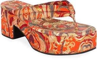 Dries Van Noten Platform Fabric Thong Sandals