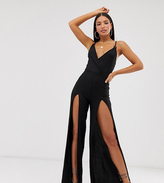 ASOS DESIGN Tall Wrap Front Split Leg Ring Detail Strappy Jumpsuit