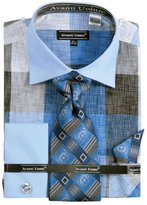 Sunrise Outlet Men's Large Check Pattern French Cuff Shirt Cufflinks