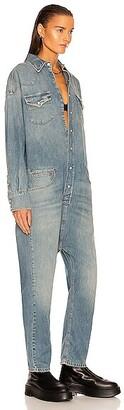 R 13 Limited Edition Japanese Denim Cowboy Drop Jumpsuit in Blue