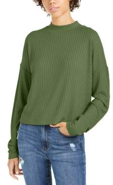 It's Our Time Juniors' Mock Neck Rib-Knit Top