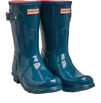 Hunter Womens Short Gloss Wellington Boots Galvanize