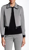 Theory Balvino Elmore Genuine Leather Trim Knit Jacket